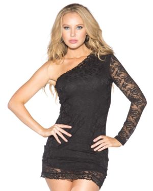 Shirley Of Hollywood One Shoulder Dress with Chantilly Lace Overlay