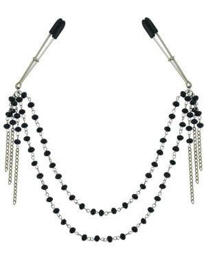 Sportsheets Sincerely Black Jeweled Nipple Chain and Clips