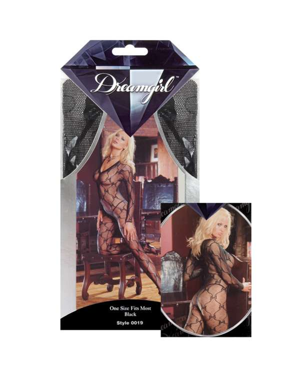 Dreamgirl Bow Design Long Sleeve Open Crotch Bodystocking