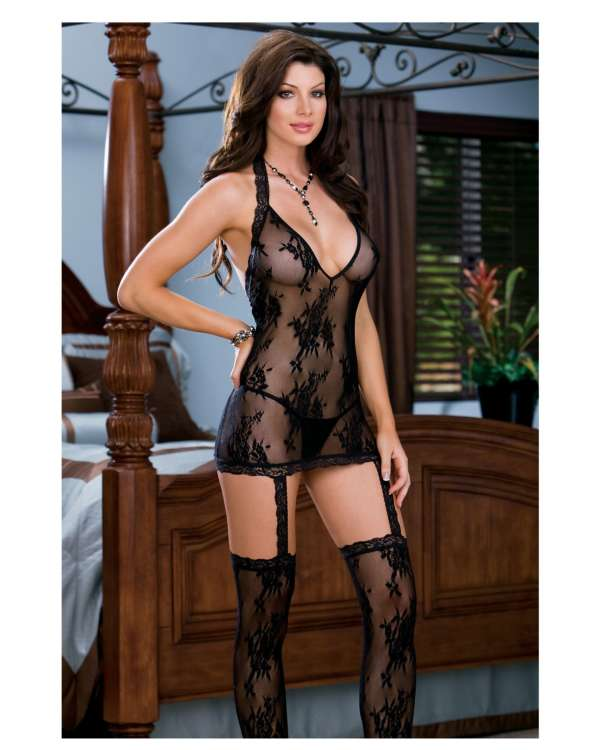 Dreamgirl Floral Stretch Lace Halter Dress with Attached Garters and Thigh High Stockings