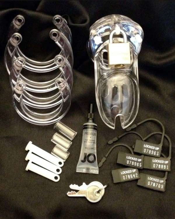 CB-X The Curve Cock Cage and Lock Male Chastity Set 3.75