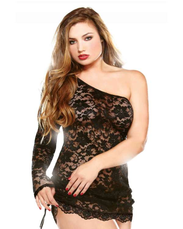Curve One Shoulder Floral Lace Dress with Matching Thong