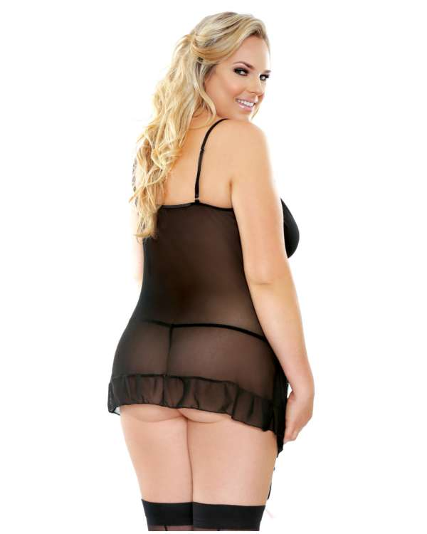 Curve Shirred Side Gartered Chemise with Matching G-String (Clearance)