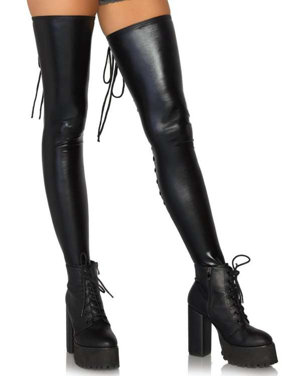 Leg Avenue Wet Look Lace Up Footless Thigh Highs