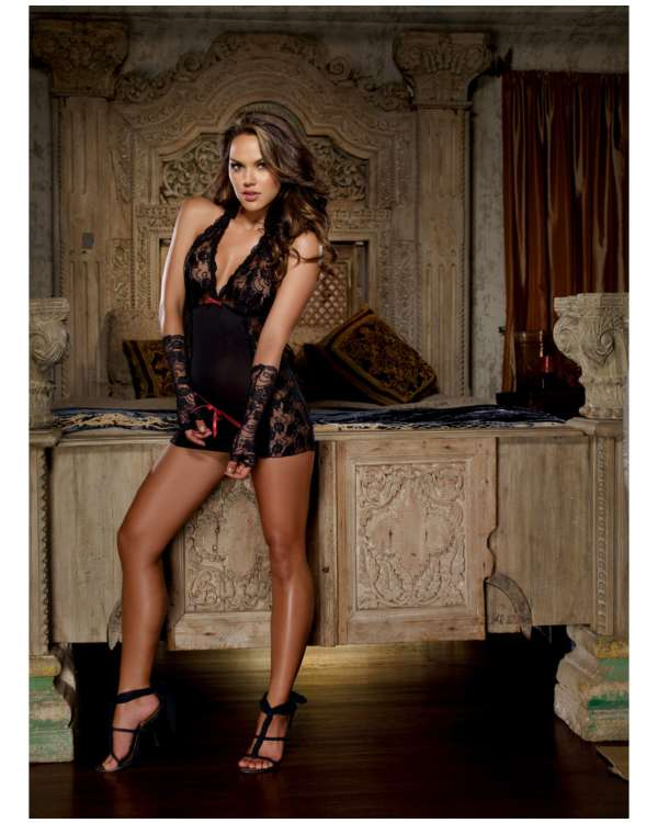 Dreamgirl Microfiber Halter Chemise with Stretch Lace, Thong and Fingerless Glove Restraints