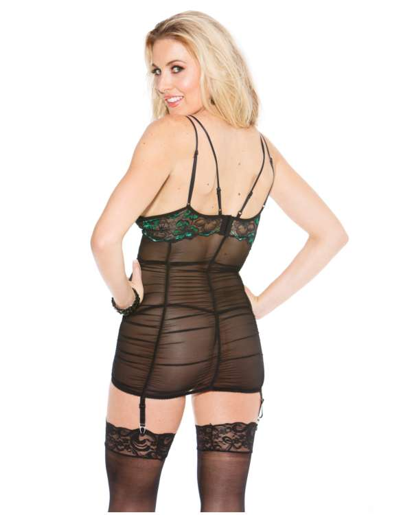 Shirley of Hollywood Two Tone Lace Gartered Chemise, Rusch Bodice with Garters and G-String