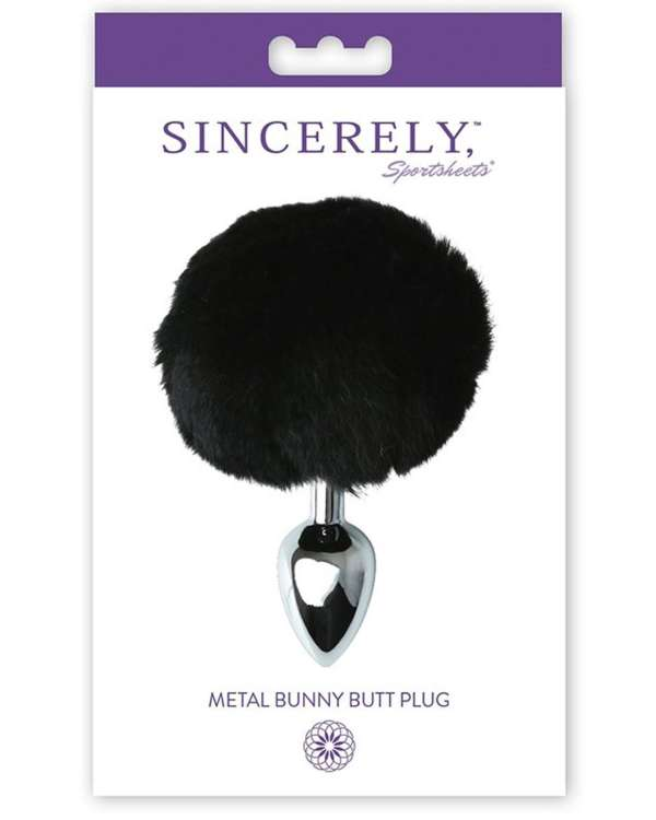Sportsheets Sincerely Metal Bunny Butt Plug with Real Fur