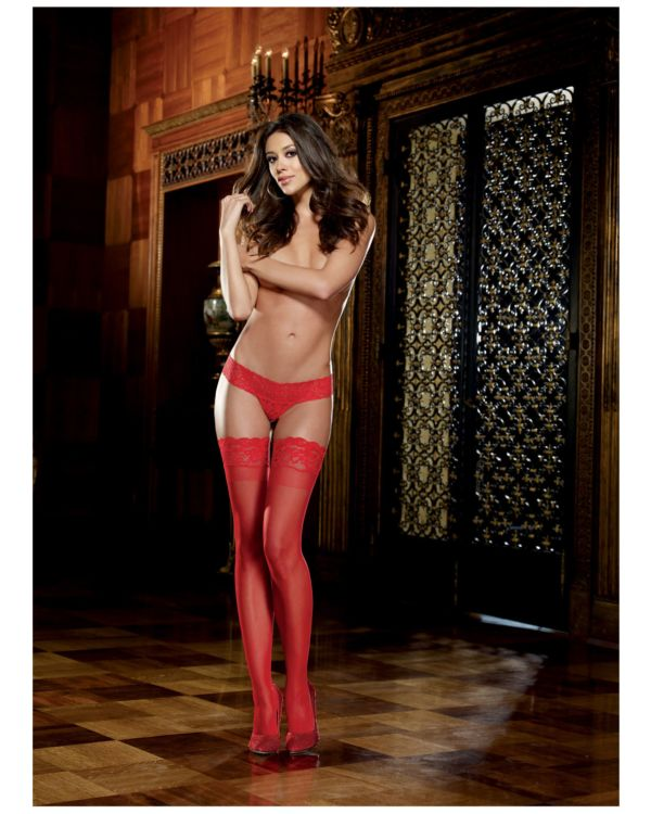 Dreamgirl Stay Up Thigh Highs with Contemporary Style Silicone Lace Top