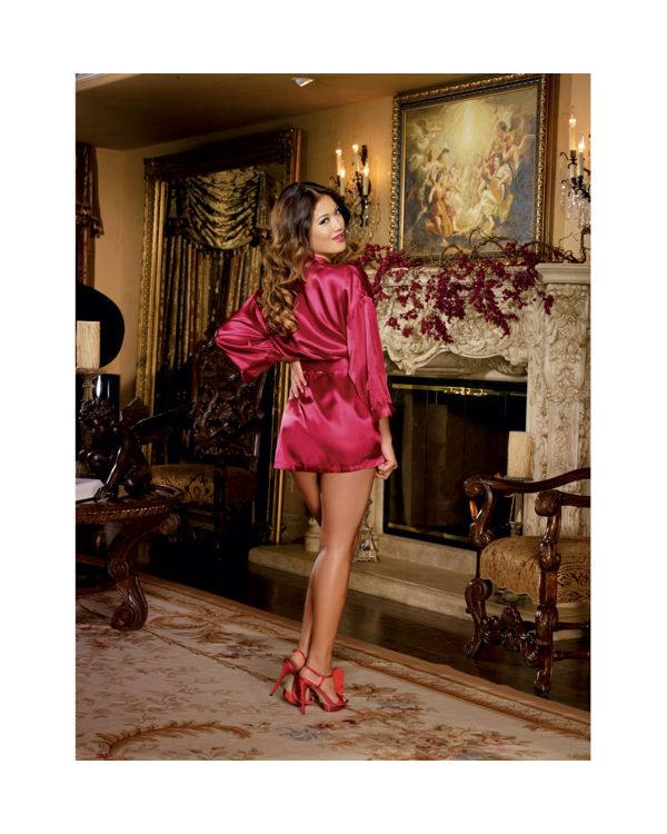 Dreamgirl Charmeuse Short Length Kimono Robe with Matching Chemise Set