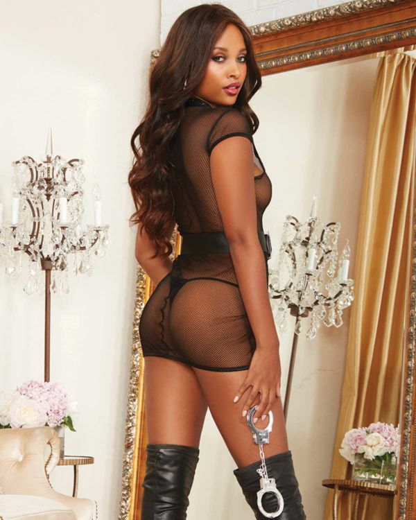 Dreamgirl Fishnet Zipper Front Stretch Chemise, Faux Leather Belt, Handcuffs and Badge