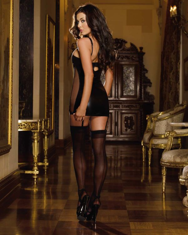 Dreamgirl Stretch Microfiber and Fishnet Studded Garter Slip with Removable Straps and Thong (Clearance)