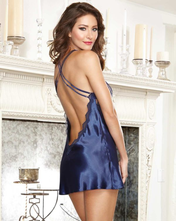 Dreamgirl Satin Charmeuse with Scalloped Lace Trim and Criss Cross Adjustable Straps with Thong
