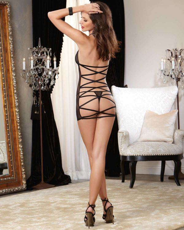 Dreamgirl Strappy Mesh Keyhole Cut Open Back Chemise and Matching Thong (Clearance)