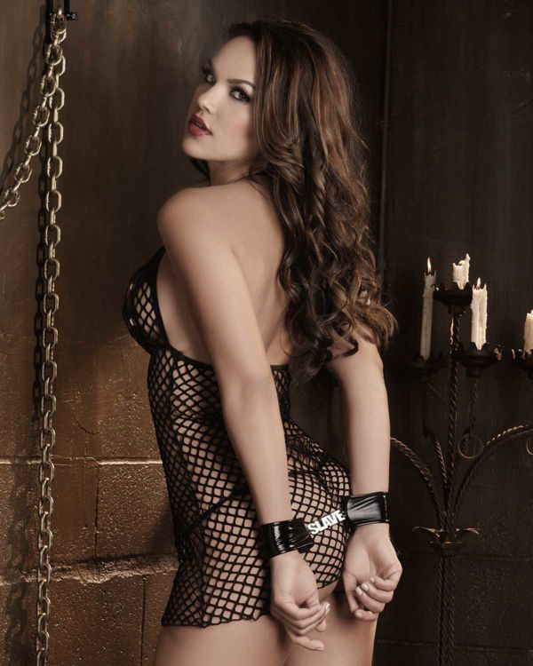 Dreamgirl Fetish Fishnet Halter Chemise with Crotchless G-String and Slave Restraints