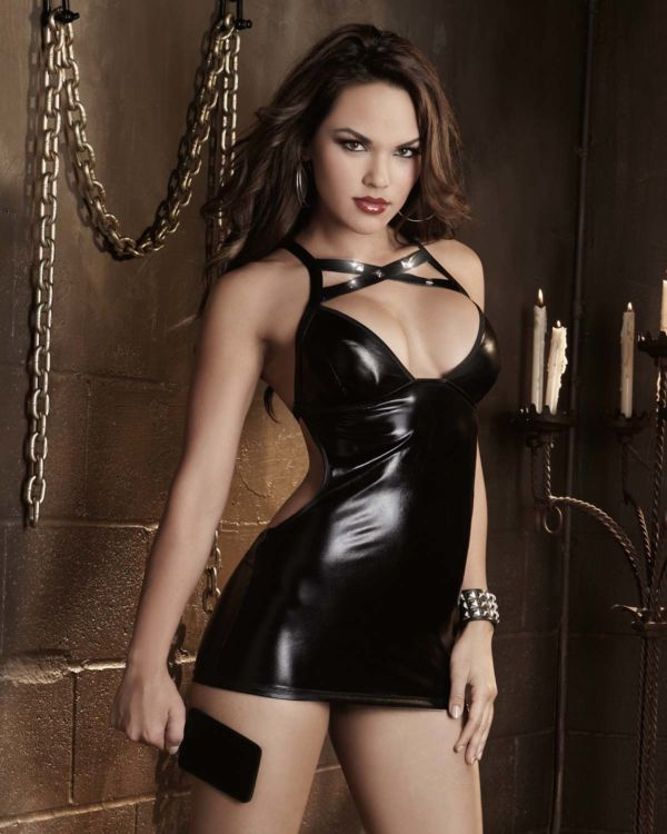 Dreamgirl Fetish Stretch Faux Vinyl Chemise with Open Spanking Back, G-String and Paddle Black