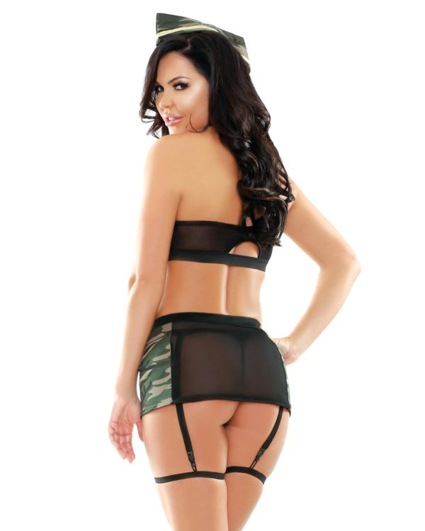 Play by Fantasy Go Commando Bra, Skirt, Collar, Gloves, and Panty Set