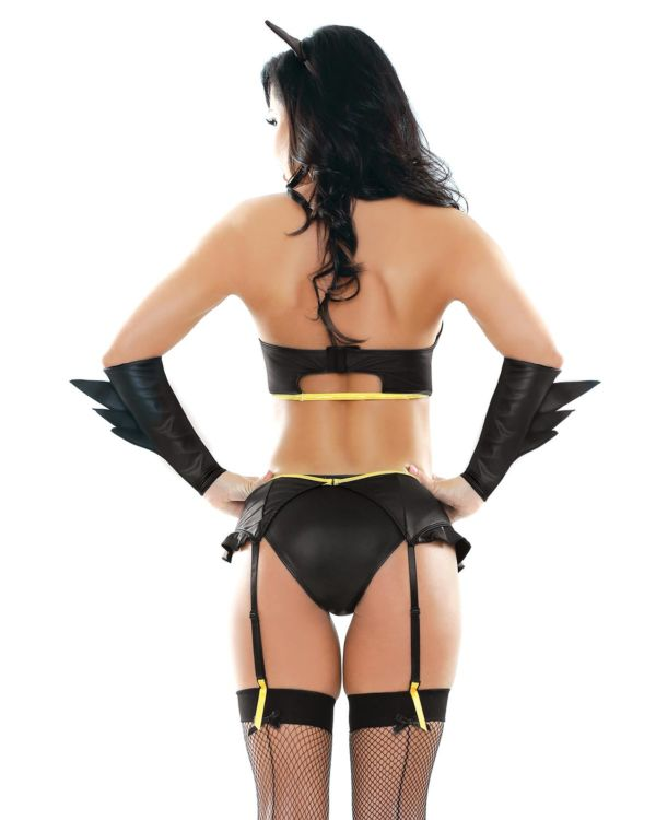 Play by Fantasy Badgirl Top, Garter Belt, Cuffs, Headband, and Panty Set