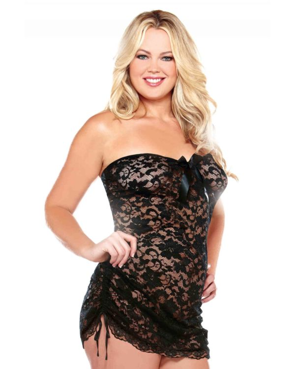 Curve Strapless Floral Lace Dress with Matching Thong