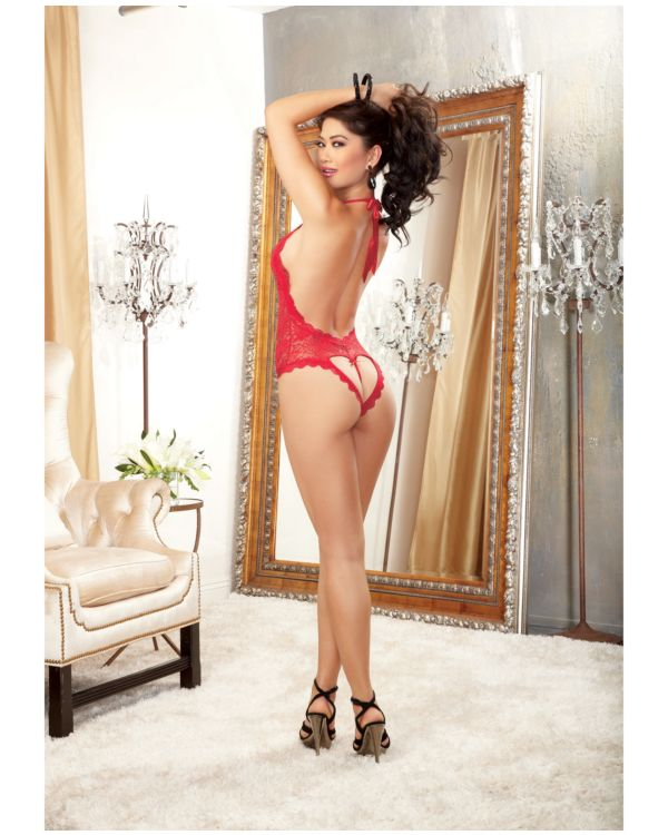 Dreamgirl Halter Stretch Lace Teddy with Plunging Neckline, Halter Ties and Heart Cut Out on Back