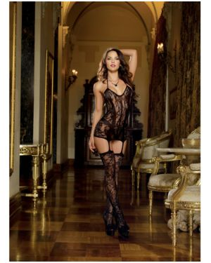 Dreamgirl Lace Fishnet Halter Garter Dress with Opaque Bodice Lines and Attached Stockings