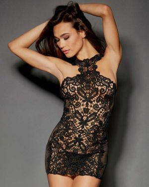 Dreamgirl Lace and Stretch Spandex Mesh Versatile Chemise with G-String