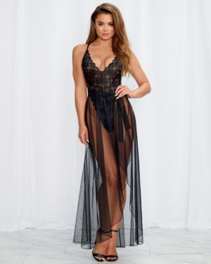 Dreamgirl Stretch Lace Teddy with Removable Sheer Mesh Maxi Skirt