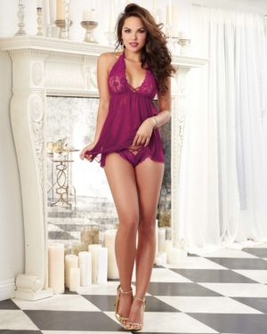 Dreamgirl Stretch Mesh and Lace Galloon Halter Babydoll with Adjustable Neck Ties and Tanga Panty