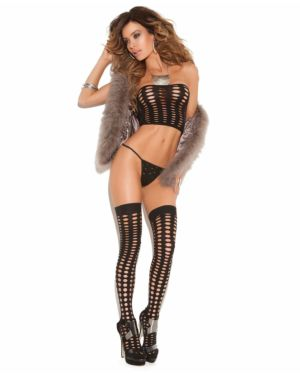 Elegant Moments Vivace Opaque Pothole Bandeau Top, G-String, and Matching Stockings Set
