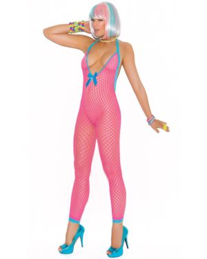 Elegant Moments Vivace Crochet Bodystocking with Open Crotch and Peek a Boo Back