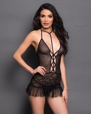 Escante Strappy Halter Mesh Pleated Hem Babydoll (Clearance)