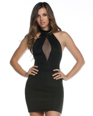 Forplay Keyhole Mesh Halter Mini Dress (Clearance)