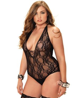Leg Avenue Floral Lace Deep-V Teddy with Stockings