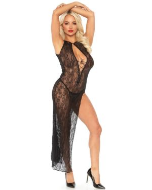 Leg Avenue High Slit Lace Long Dress Chemise with G-String