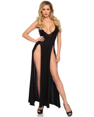 Leg Avenue Deep-V Dual Slit Jersey Loungewear Maxi Dress