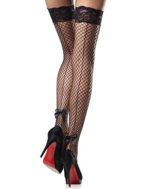 Leg Avenue Stay Up Net Lace Top Backseam Bow Thigh Highs