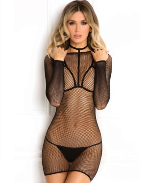 Rene Rofe High Alert Fishnet Choker Harness Long-Sleeve Dress and G-String Set