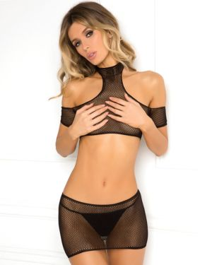 Rene Rofe Off Shoulder 2-Piece Crochet Bodystocking Crop-Top & Mini-Skirt Set (G-String Sold Separately)