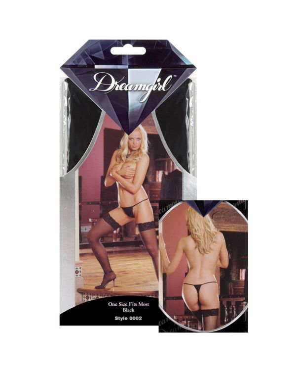 Dreamgirl Sheer Thigh Highs with Classic Style Silicone Lace Top