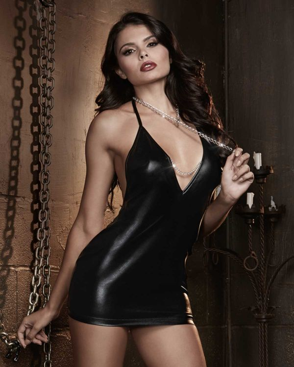 Dreamgirl Fetish Faux Leather Stretch Knit Chemise with Open Back and Chain Detals & Chain Collar