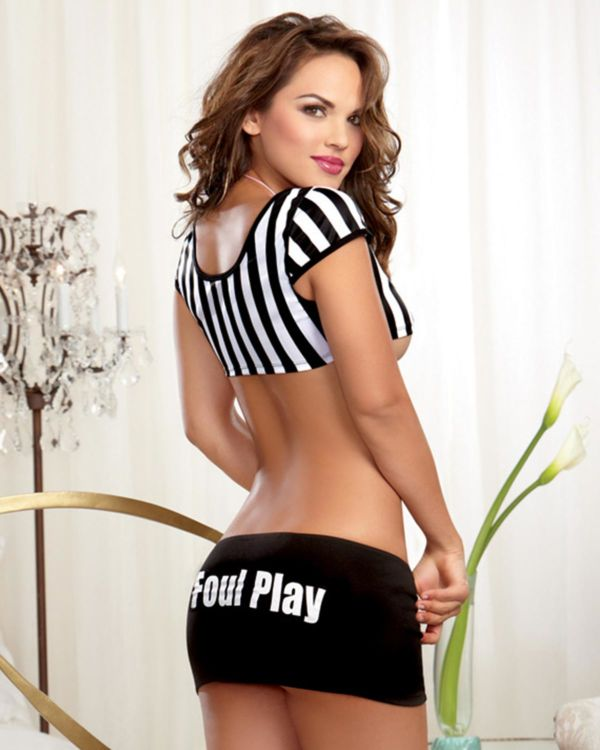 Dreamgirl Referee Stripe Knit Crop Top, Foul Play Mini Skirt and Whistle