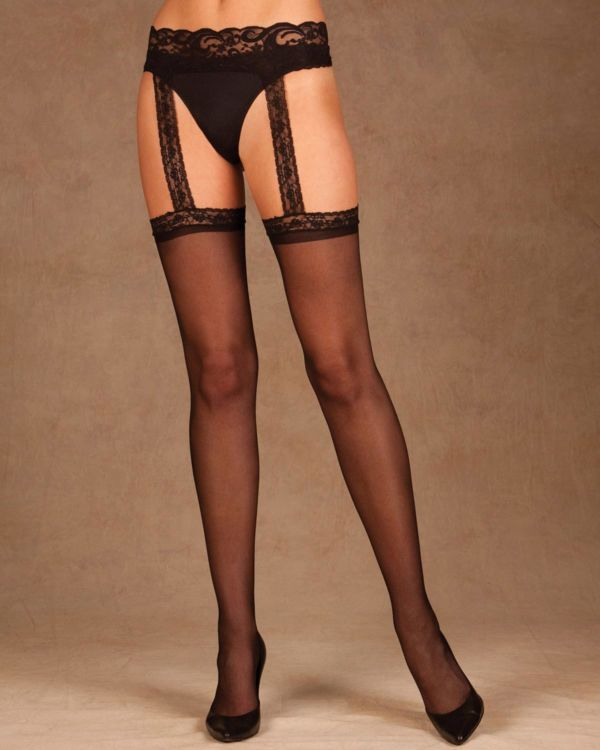 Elegant Moments Sheer Thigh Highs with Attached Lace Garter Belt