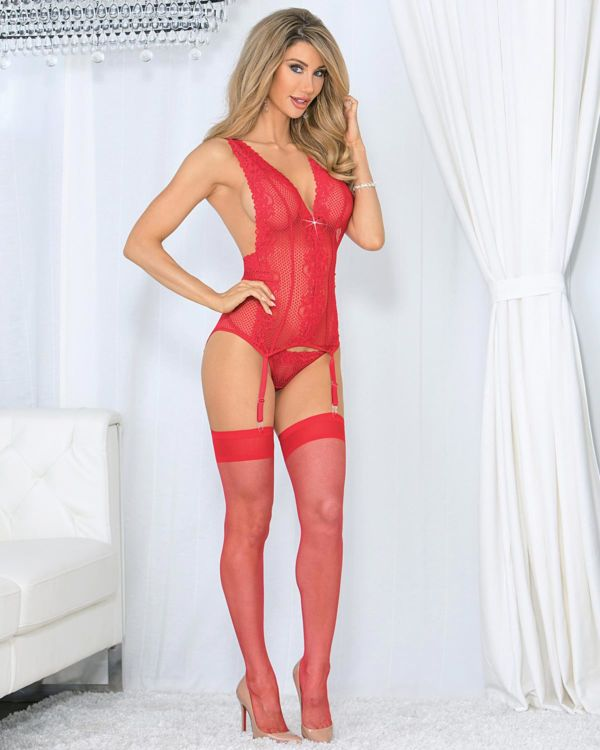 Escante Holiday Jeweled Criss-Cross Bustier with Thigh Highs Set