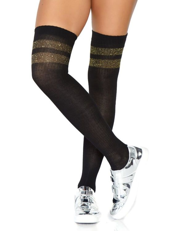 Leg Avenue Athletic Ribbed Two-Stripe Thigh Highs