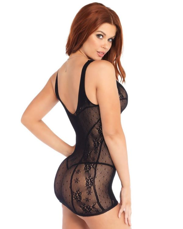 Leg Avenue Lace Dotted Mesh Plunging Criss-Cross Chemise