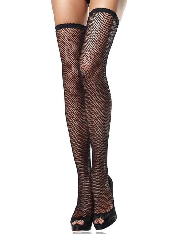 Leg Avenue Fishnet Elastic Scalloped Top Thigh Highs
