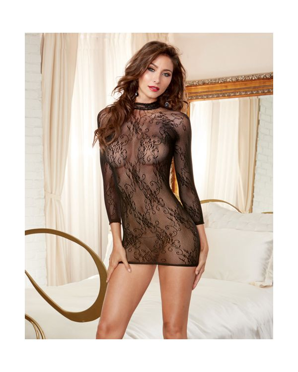 Dreamgirl Stretch Lace Tunic, High Neck with Snap Closure and Open Back with Adjustable Lace Detail