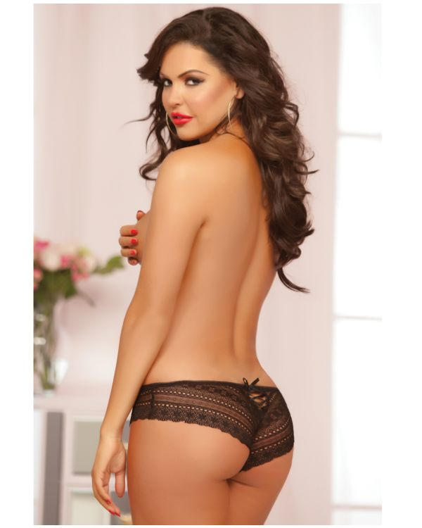 Seven 'til Midnight Geo Galloon Lace Panty with Lace Up Back Detail