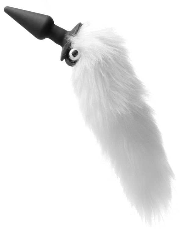 Tailz White Fox Tail Vibrating Silicone Anal Plug
