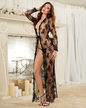 Dreamgirl Delicate Lace Open Front Gown and G-String Set