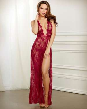 Dreamgirl Holiday Lace Halter Gown and G-String Set